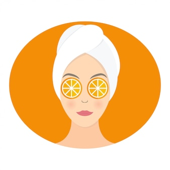 Flat design of a woman with mask of orange on her eyes.