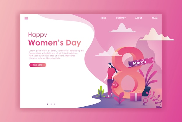 웹 사이트를위한 평면 디자인 여자 국제 날