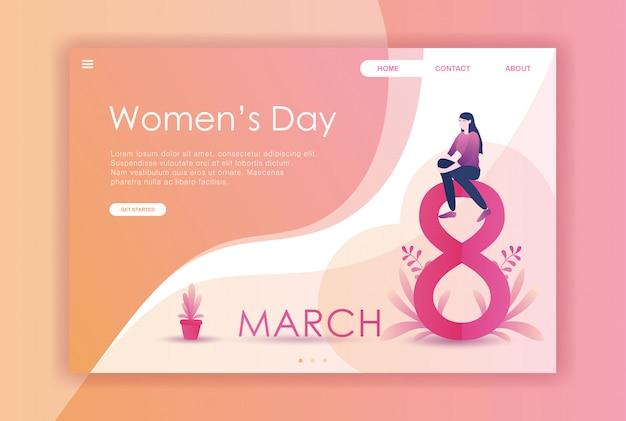 フラットデザイン女性のウェブサイトのための国際デー