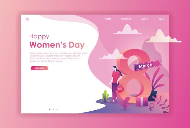 Flat design women international day for website