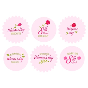 Flat design womens day badge collection theme