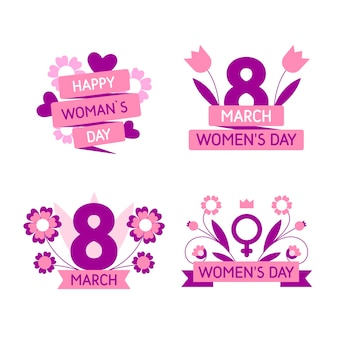 Flat design womens day badge collection