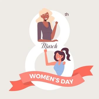フラットなデザインの女性の日のコンセプト
