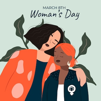 Flat design womens day event