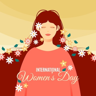 Flat design womens day festive event