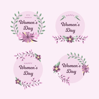 Flat design womens day label collection concept