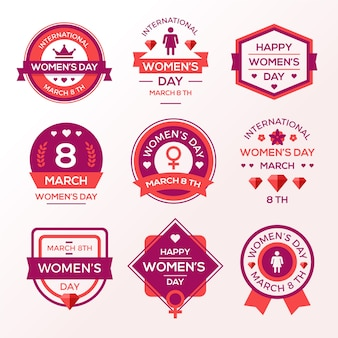 Flat design womens day label collection design