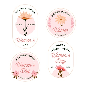 Flat design womens day label collection theme