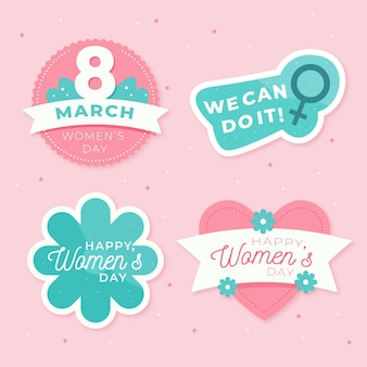 Flat design womens day label collection