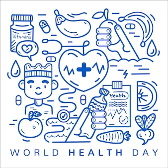 Flat design workd health day celebration