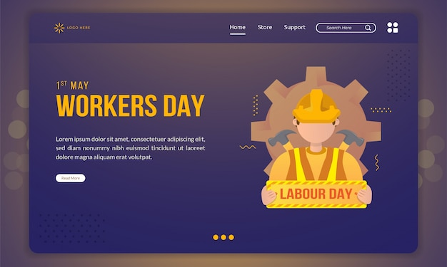Flat design of worker with labour day signboard  template