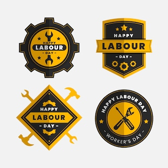 Flat design workers international day badges