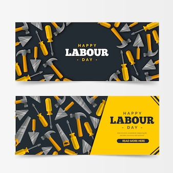 Flat design workers international day banners