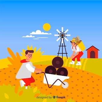 Flat design working characters agricultural field