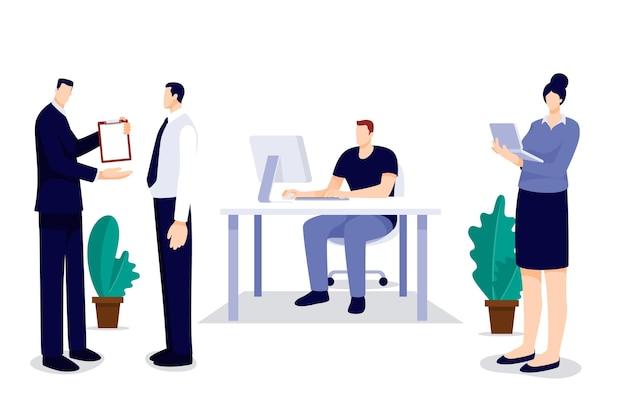 Пакет сцен рабочего дня в плоском дизайне