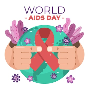 Flat design world aids day concept illustrated