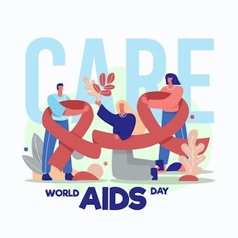 평면 디자인 세계 에이즈의 날 개념