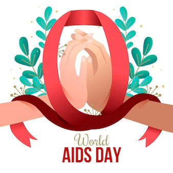 Flat design world aids day ribbon illustrated