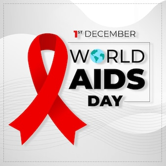 Flat design world aids day ribbon