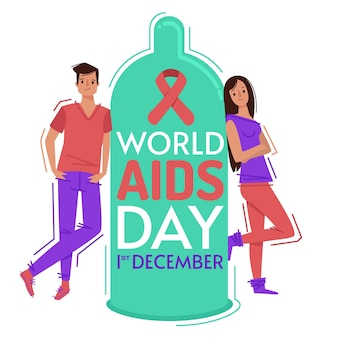 Flat design world aids day