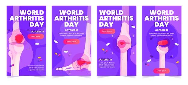 Design piatto delle storie di instagram della giornata mondiale dell'artrite