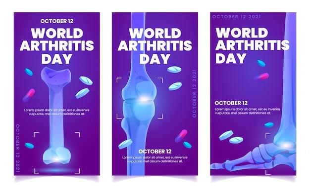Design piatto dei banner verticali della giornata mondiale dell'artrite