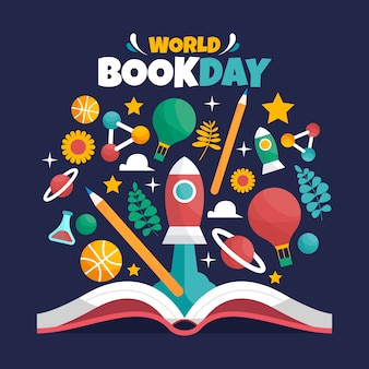Flat design world book day background