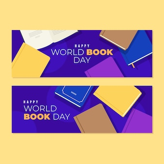 Flat design world book day banners concept