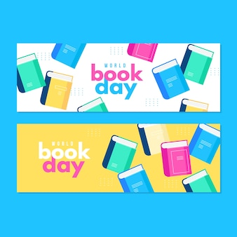 Flat design world book day banners design
