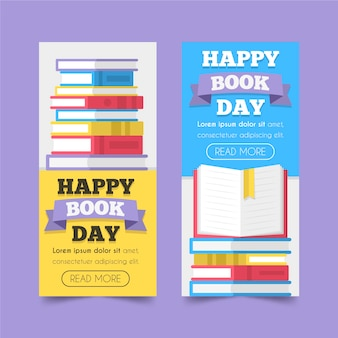 Flat design world book day banners pack