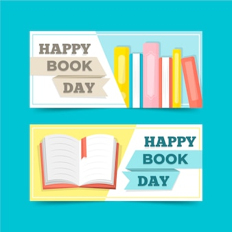 Flat design world book day banners set
