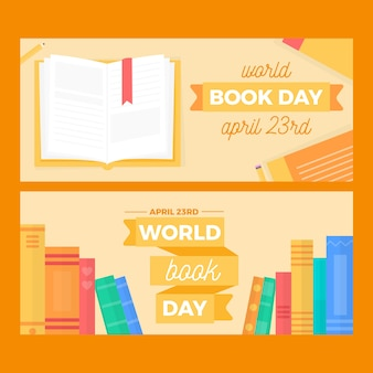 Flat design world book day banners template