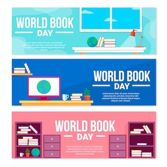 Плоский дизайн всемирный день книги баннеров шаблон