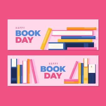 Плоский дизайн всемирный день книги баннеры тема
