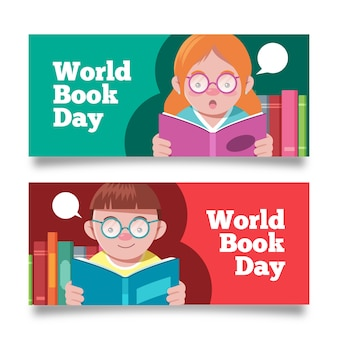 Flat design world book day banners