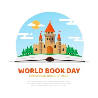 Flat design world book day concept