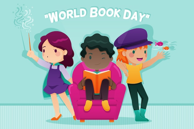 Flat design world book day concept