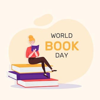 Flat design world book day event concept
