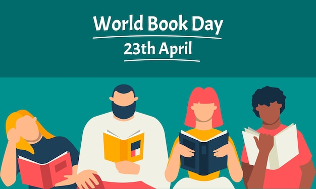 Flat design world book day event