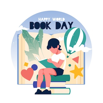 Flat design world book day illustration
