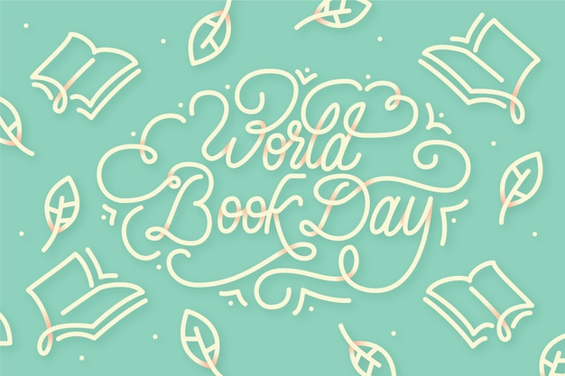 Flat design world book day lettering