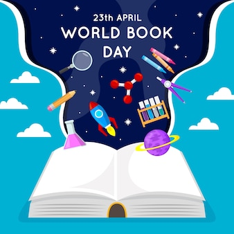 Flat design world book day theme