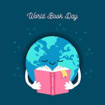 フラットデザインの世界の本の日