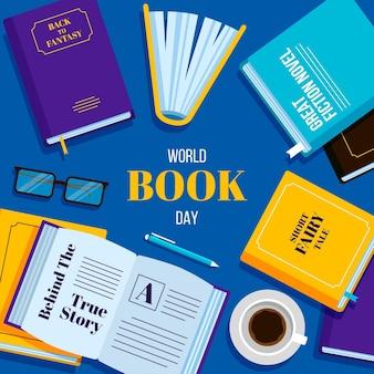 Всемирный день книги в плоском дизайне