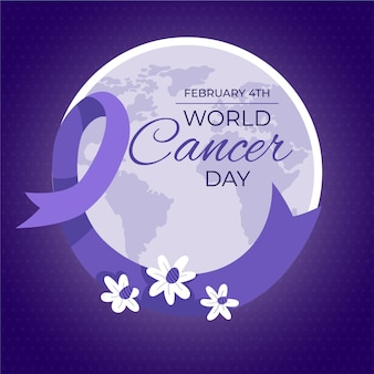 Всемирный день борьбы с раком в плоском дизайне