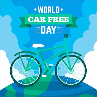 Flat design world car free day concept