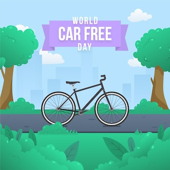 Flat design world car free day