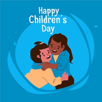 Flat design world children's day celebration