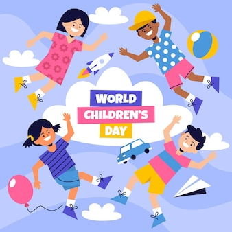 Flat design world childrens day concept