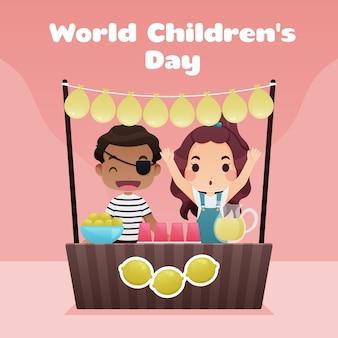 Flat design world childrens day concept